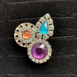 H&M tri-color bejewel gem cocktail ring, sz M